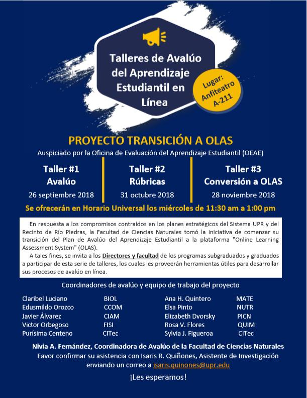 Talleres de Avalúo del Aprendizaje Estudiantil en Línea @ Anfiteatro A-211 Facultad de Ciencias Naturales