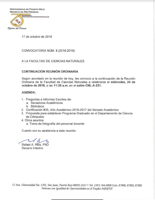Continuación Reunión Ordinaria de Facultad @ Salón CNL-231