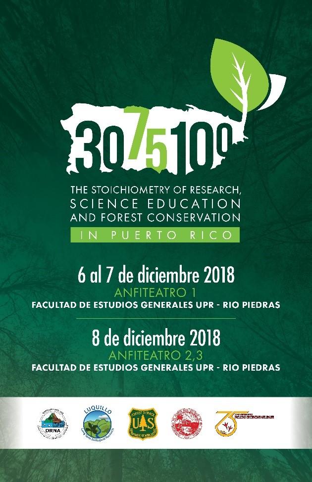 Afiche 30 años del Programa de Investigación Ecológica a Largo Plazo en El Yunque, 75 años de educación científica en la Facultad de Ciencias Naturales de la UPR, y 100 años de conservación forestal por el gobierno de Puerto Rico