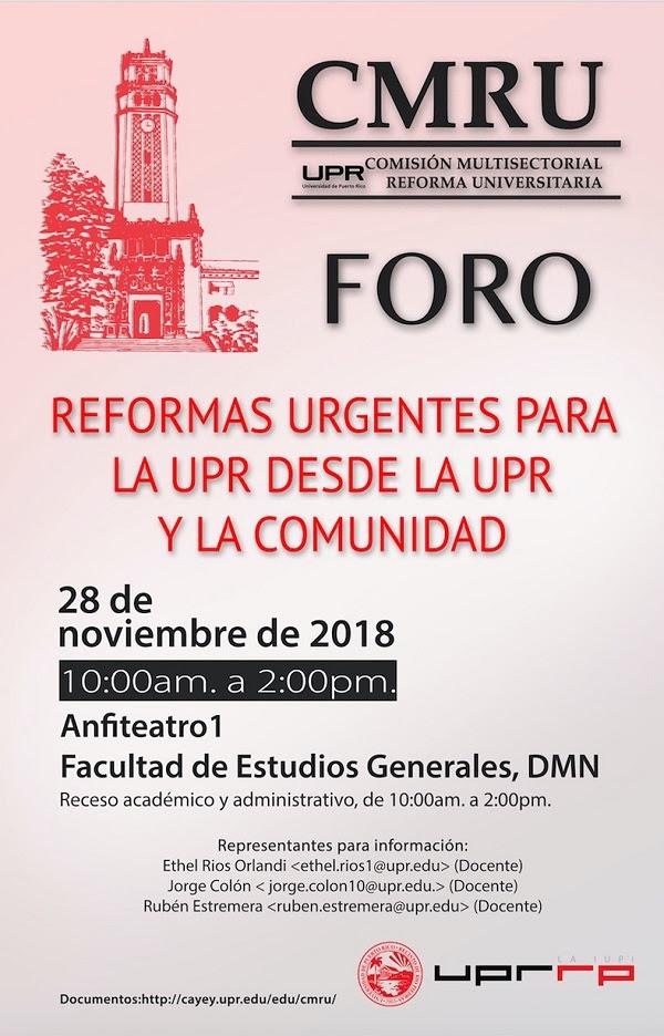 Afiche Foro Reformas Urgentes para la UPR y la Comunidad