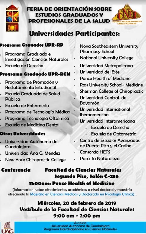 Feria de Orientación sobre Estudios Graduados y Profesionales de la Salud @ Vestíbulo Ciencias Naturales