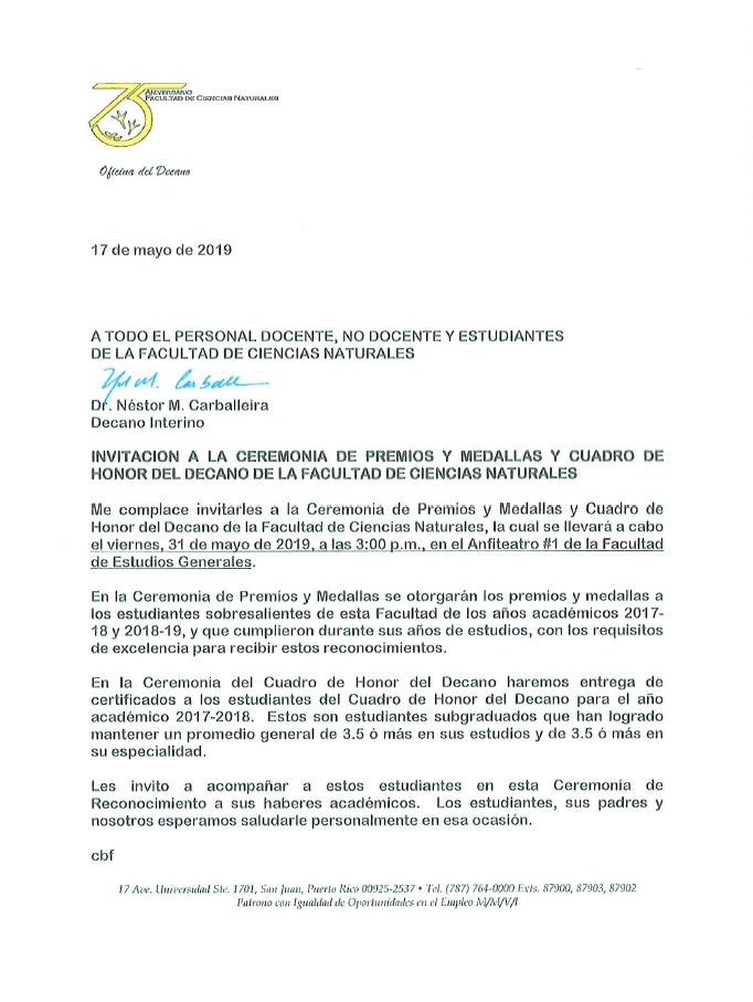 Ceremonia de Premios y Medallas y Cuadro de Honor del Decano de la Facultad de Ciencias Naturales @ Anfiteatro #1, Estudios Generales
