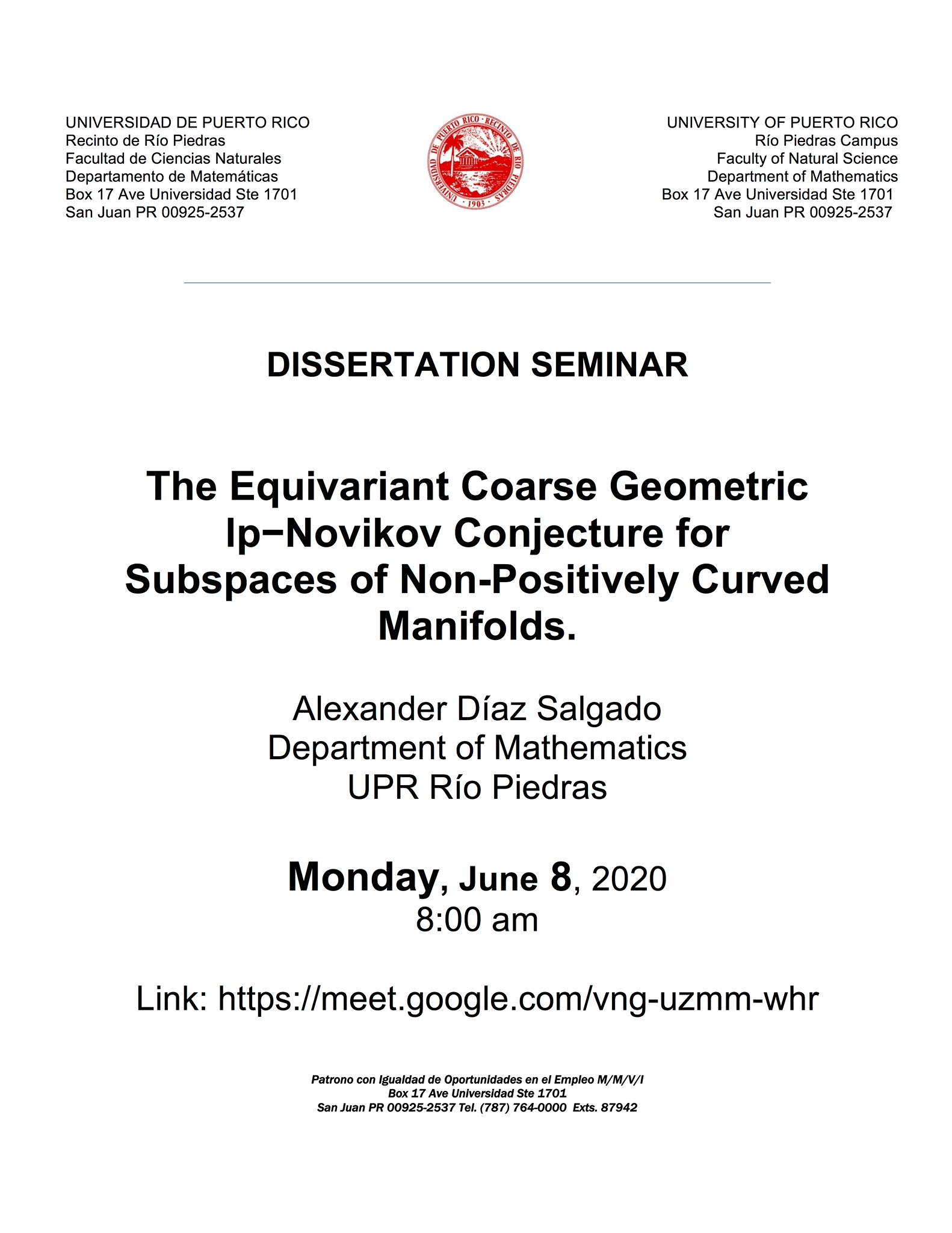 Dissertation Seminar: The equivalent Coarse Geometric Ip-Novikov Conjecture for Subspaces of Non-Positively Curved Manifolds