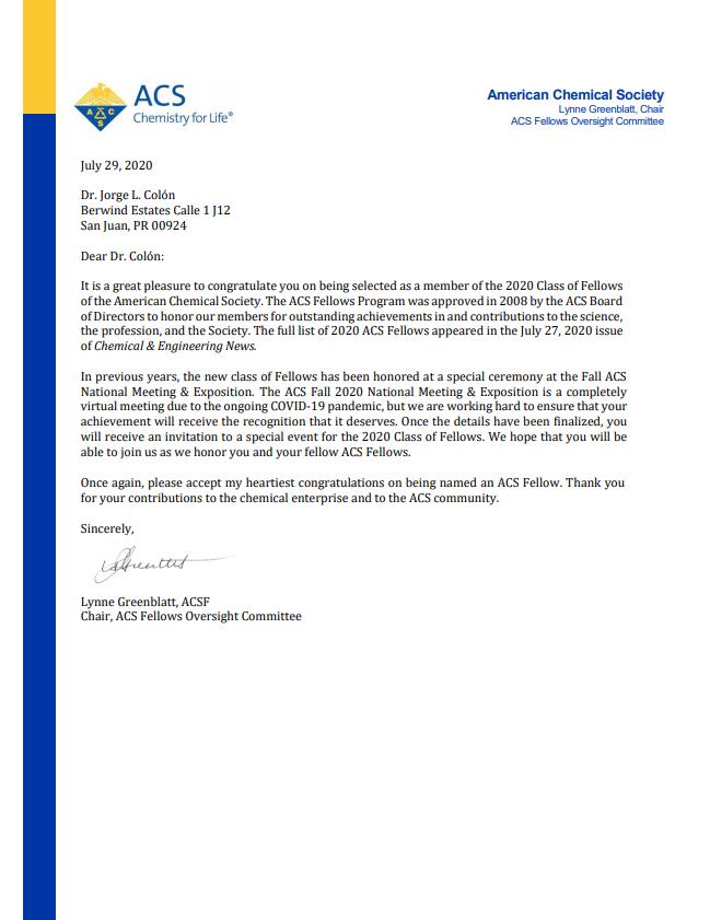 Imagen de la carta enviada por ACS al Dr. Colón