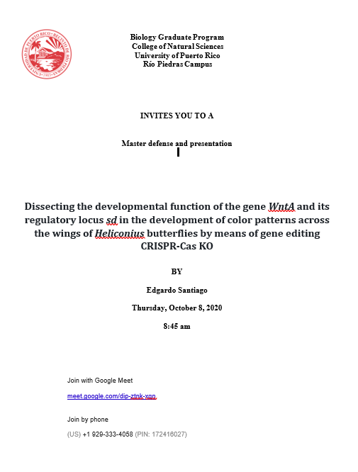 Defensa Tesis: Dissecting the developmental function of the geneWntA...